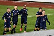 Utkání 8. kola první fotbalové ligy: FC Baník Ostrava - FC Slovácko, 20. ledna 2021 v Ostravě. (vpravo) Jan Kliment ze Slovácka oslavuje gól.