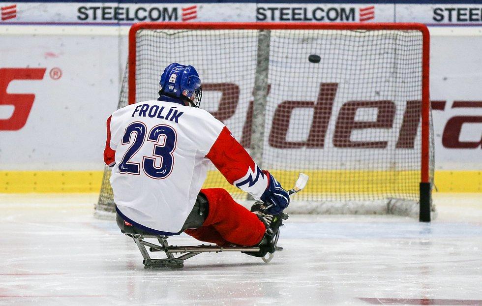 Tisková konference k Mistrovství světa v para hokeji 18. ledna 2019 v Ostravě. Na snímku para hokejista Frolík.