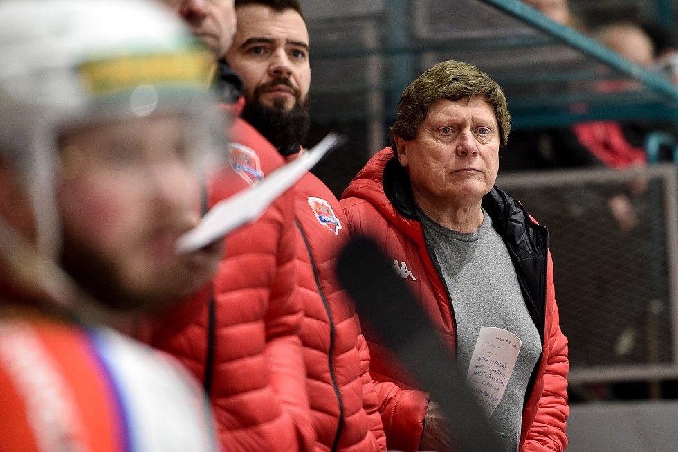 Utkání 48.kola Chance ligy: HC RT Torax Poruba - Slavia Praha, 1. února 2020 v Ostravě. Na snímku trenér Poruby František Výborný.
