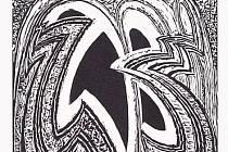 Jeden z dřevorytů z cyklu Františka Kupky s názvem Čtyři příběhy bílé a černé.