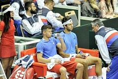 Utkání 2. kola evropsko-africké zóny tenisového Davisova poháru - čtyřhra: ČR - Izrael, 7. dubna 2018 v Ostravě. (zleva) Adam Pavlásek a Jiří Veselý.