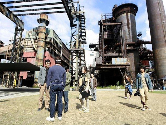 Snímek z natáčení korejského filmu v Ostravě.