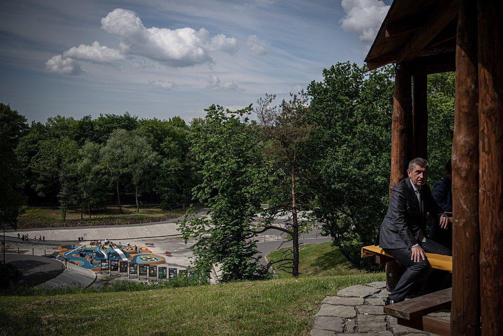 Předseda vlády České republiky Andrej Babiš si prohlédl KouPark, 1. června 2021 v Ostrava-Radvanicích.