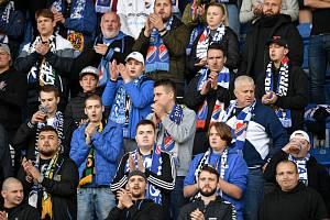 Fanoušci Baníku Ostrava při utkání 11. kola první fotbalové ligy proti Slovácku.