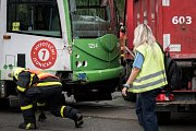 Nehoda tramvaje a nákladního automobilu na ulici 28. října ve čtvrtek 17. srpna 2017.