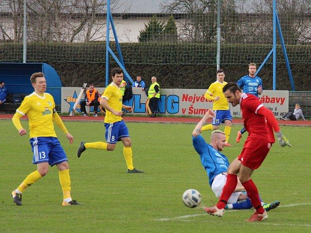 Šumperští fotbalisté na jaře poprvé přišli o body, doma remizovali s Břeclaví 1:1.