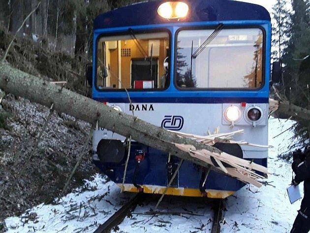 Vlak narazil do spadeného stromu u Chrastic na Staroměstsku.