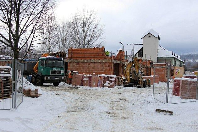 Stavba Centra sociálních služeb v Jeseníku, stav na konci ledna 2015.
