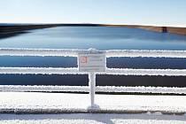 Horní nádrž elektrárny Dlouhé Stráně v zimním období.