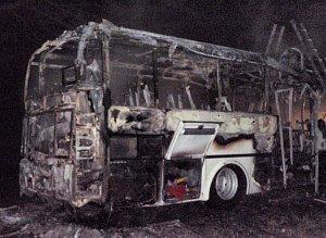 Požár autobusu u Bezděkova