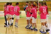 Asperky (v růžovém) během domácího utkání finále 1.ligy s Českými Budějovicemi.