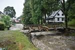 Následky bleskové povodně v Bělé pod Pradědem - horním Domašově.
