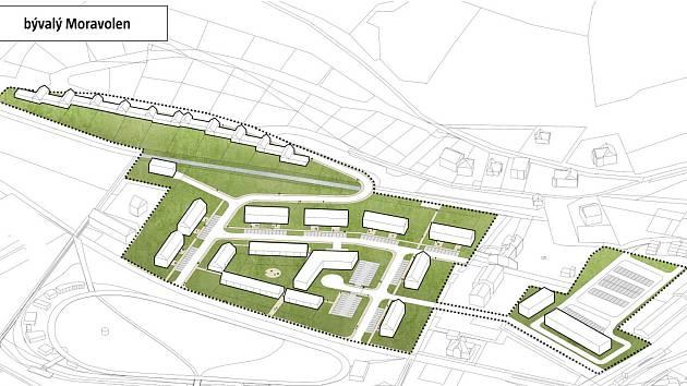 Vizualizace budoucí podoby prostoru po textilce Moravolen.