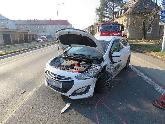 Nehoda v Jesenické ulici v Šumperku.