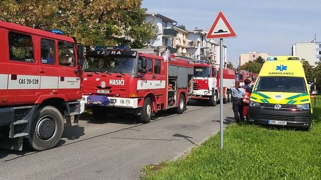 Výbuch a požár bytu v Mohelnici.