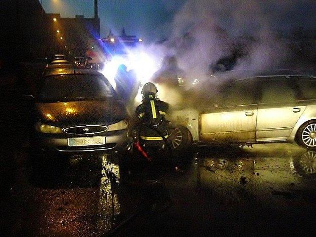 Požár audiny na Finské ulici v Šumperku
