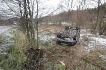 Řidič havaroval na zledovatělé vozovce mezi Libinou a Hrabišínem.