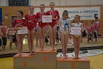 Šumperské gymnastky při soutěži v Banské Bystrici.
