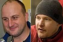 Kouč Draků Radek Kučera (vlevo) a trenér Opavy Kamil Glabazňa
