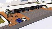 Vizualizace autobusového nádraží v Okružní ulici v Mohelnici po rekonstrukci. Parkovat se bude pod zemí i na povrchu. Zastávky dostanou zastřešení.