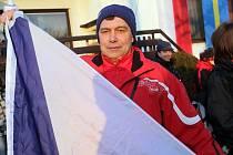 Fanoušek Ondřeje Banka a návštěvník olympiády v Soči Václav Švéda.
