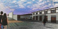 Vizualizace budoucí podoby víceúčelového areálu v Mikulovicích.