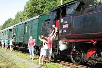 Parní vlak na nádraží v Jeseníku
