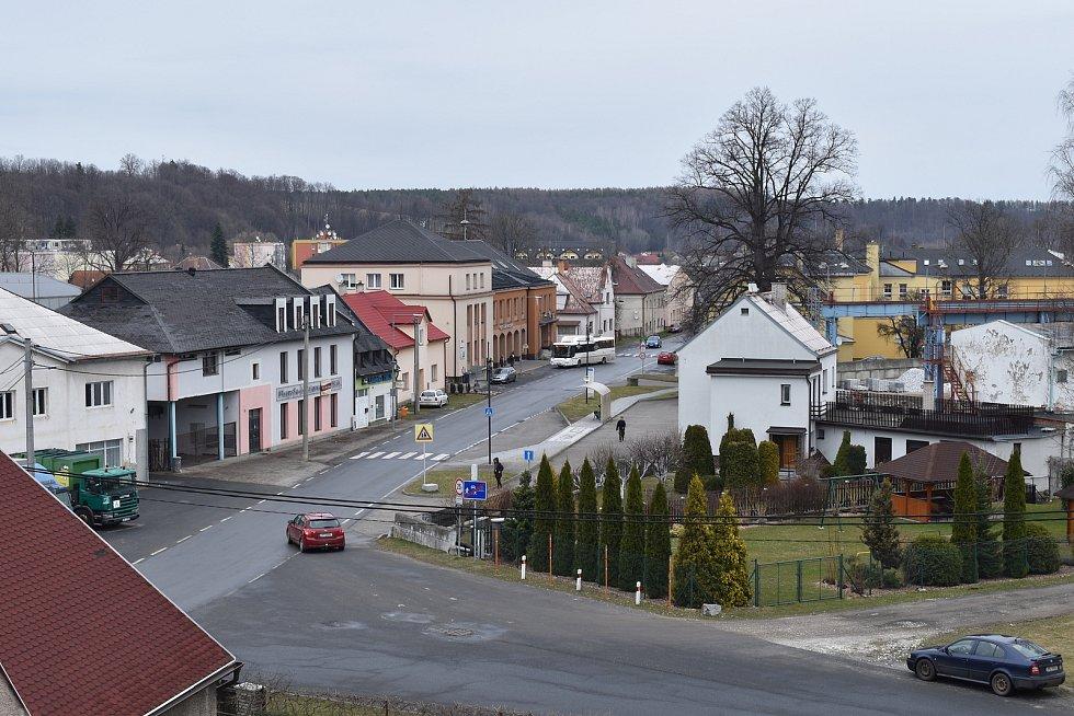 Mikulovice - pohled na centrum obce