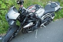 Havárie motorkáře na Červenohorském sedle v pátek 28. srpna.