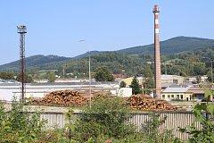 Provizorní skládky dřeva v Jeseníku.