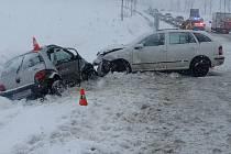 Dopravní nehoda v sobotu 13. února u Ostružné.