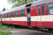 Vykolejený vlak poblíž Lipové Lázní
