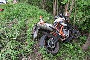 Nehoda motorkáře u Písařova