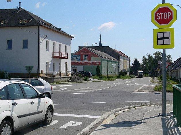 Pohled na křižovatku směrem na Mohelnici