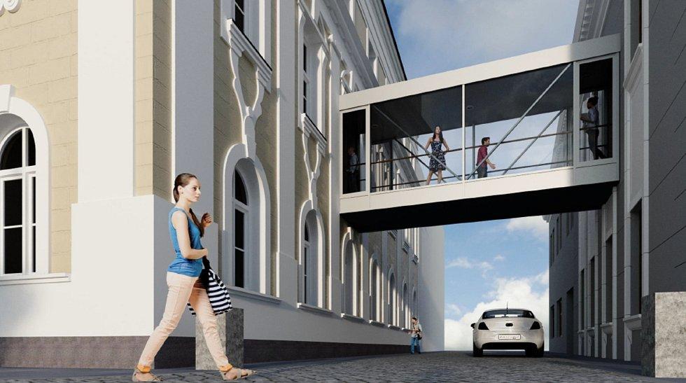 Vizualizace spojovacího krčku mezi budovami mohelnického městského úřadu.