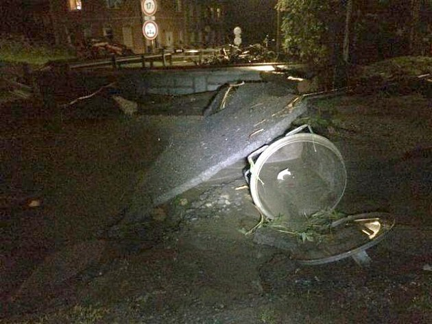 Jesenicko v noci na 29. května 2014 zasáhly lokální záplavy