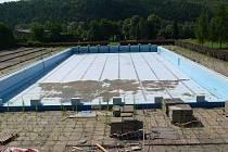 Část areálu zábřežského bazénu na dva měsíce starém snímku