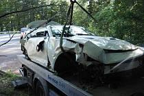 Nehoda Chevroletu na Červenohorském sedle