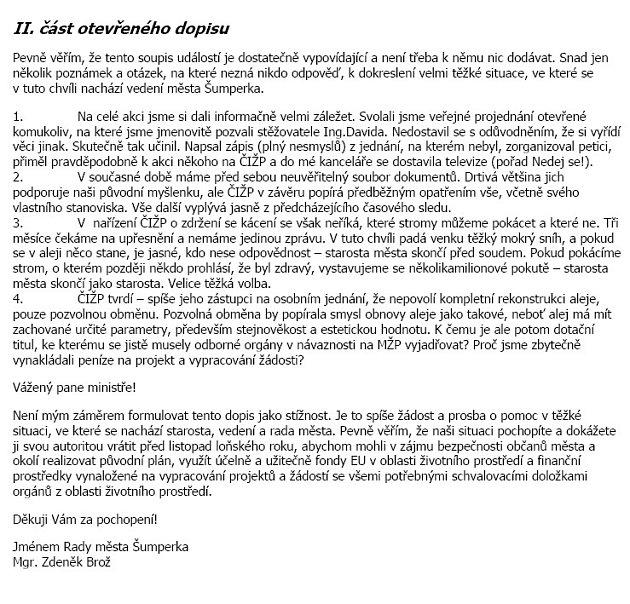 Otevřený dopis starosty Brože ministrovi, II. část