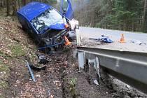 Nehoda u Zlatých Hor 15. 4. 2017.