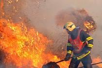Požár stohu v Zábřehu.