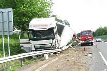 Dopravní  nehoda dvou kamionů v Mohelnici.