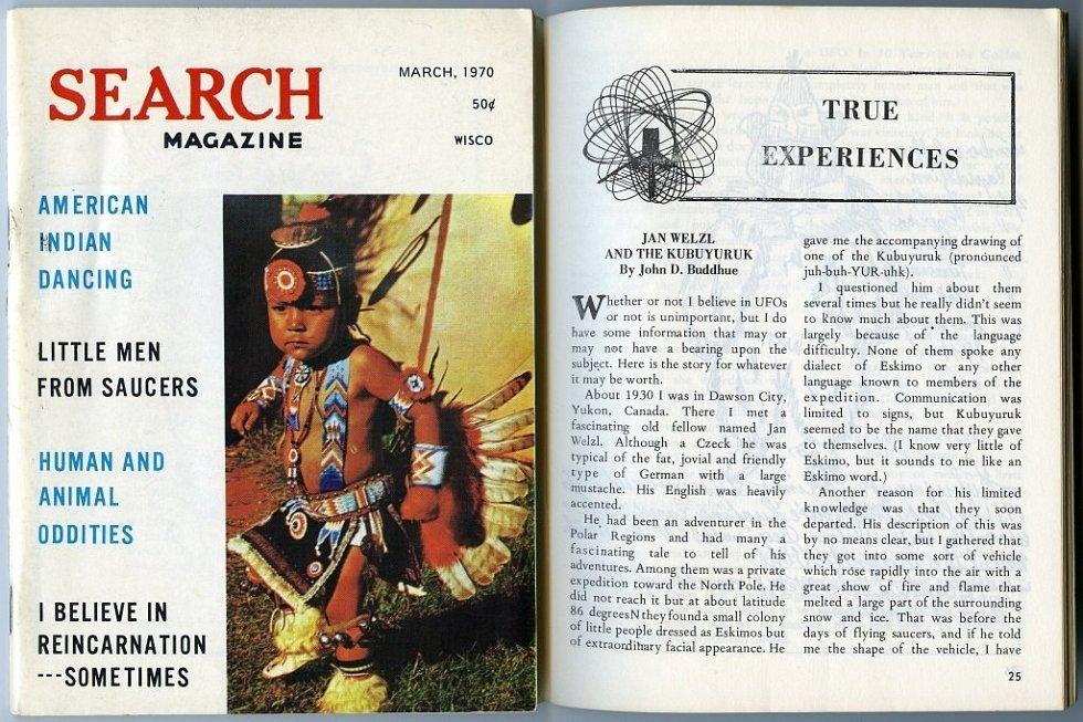 ČLÁNEK O WELZLOVI. John Buddhue napsal v roce 1970 článek o svém dávném setkání s Welzlem do časopisu  Search Magazin.