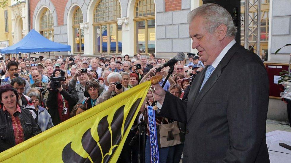 Miloš Zeman při prezidentské návštěvě Šumperku v roce 2015