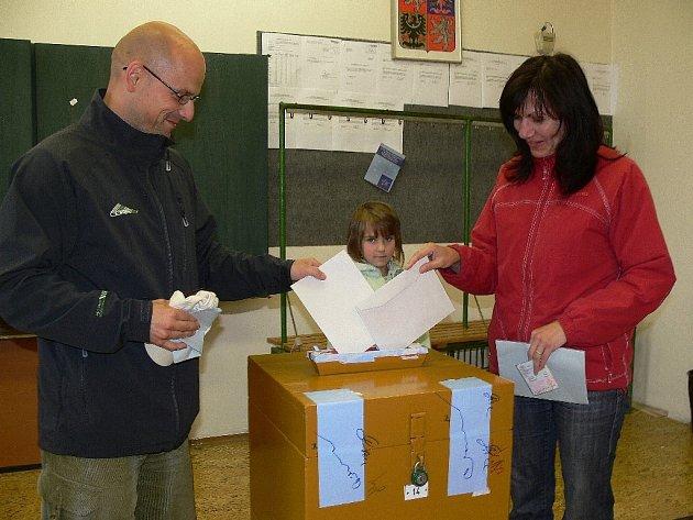 Snímek ze soboty z eurovoleb v Šumperku