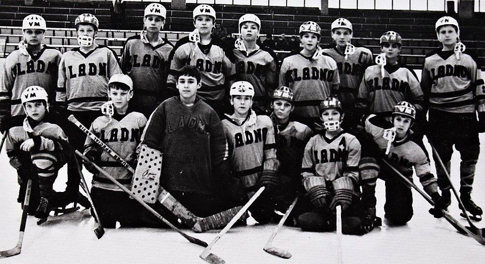 O štít únorového vítězství. První ročník turnaje mladších žáků v ledním hokeji 3.-5. března 1972, tým Kladno
