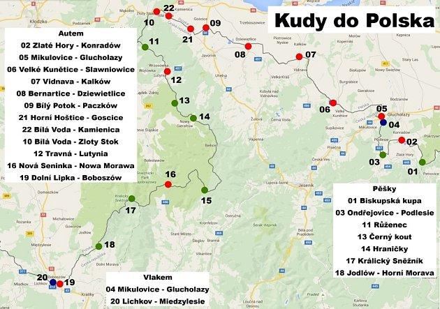Seznam míst, kudy je povoleno přecházet či přejíždět státní hranici sPolskem.