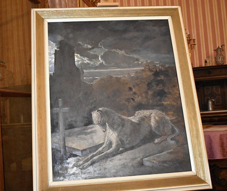 Nejen romantický park, ale interiéry zámku v Čechách pod Kosířem jsou k dispozici veřejnosti. Znovunalezený obraz Psa ležícího na hrobu svého pána.