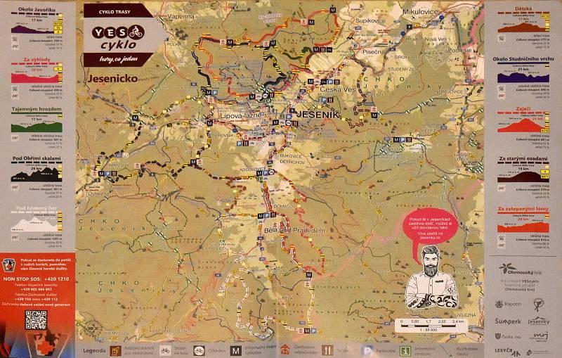 Mapa sítě Yes Cyklo na Jesenicku.