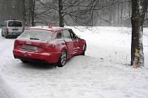 V neděli dopoledne například havarovala devětadvacetiletá řidička z Olomouce v úseku mezi Brannou a Jindřichovem.